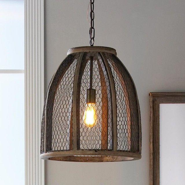 потолочный светильник с абажуром из проволочной сетки