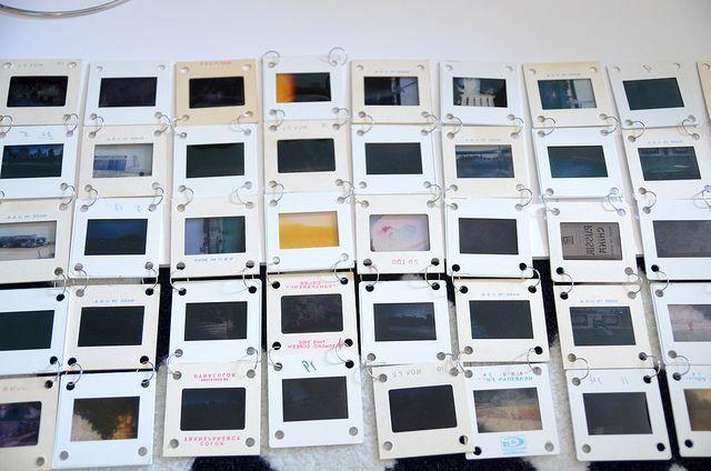 абажур для фото-лампы из старых слайдов