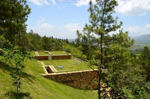 современный зеленый дом на склоне горы