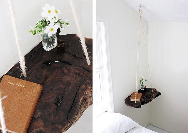 подвесной стол на веревках в интерьере