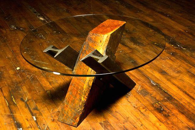 мебель из шпал и рельс - журнальный стол