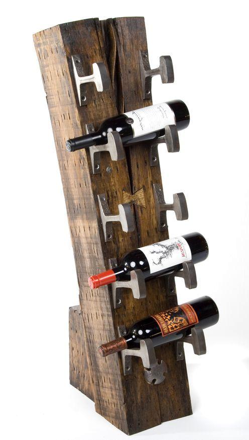 подставка под бутылки из шпал и рельс