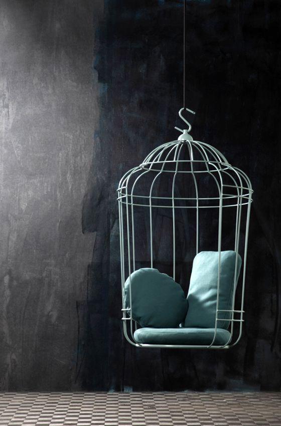оригинальное висячее кресло - клетка