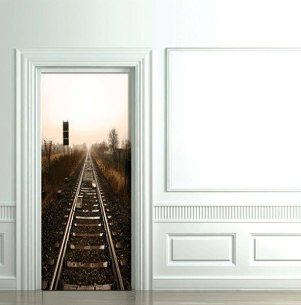железная дорога 3D фотообои для межкомнатных дверей