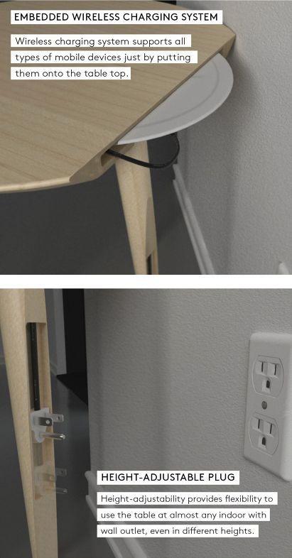 детали стола с встроенным беспроводным зарядным устройством