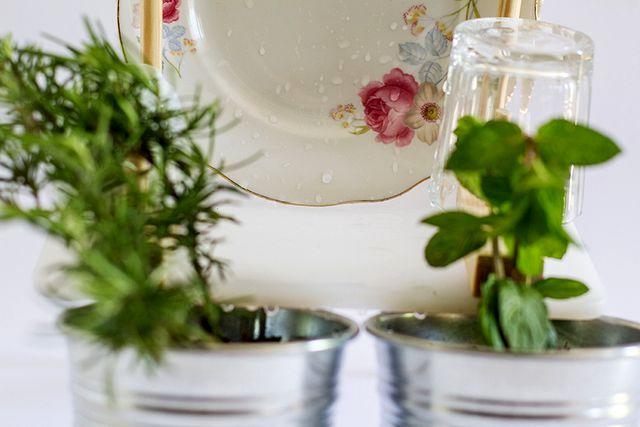 сушилка для посуды поливает растения