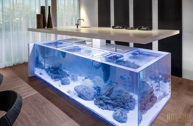 кухонный остов в виде большого аквариума от Kolenik design