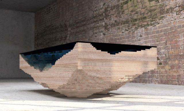 оригинальный стол в виде водоема