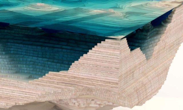 журнальный столик, имитирующий глубокий водоем
