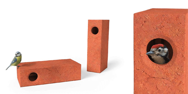 кирпичные блоки с отверстиями для птиц