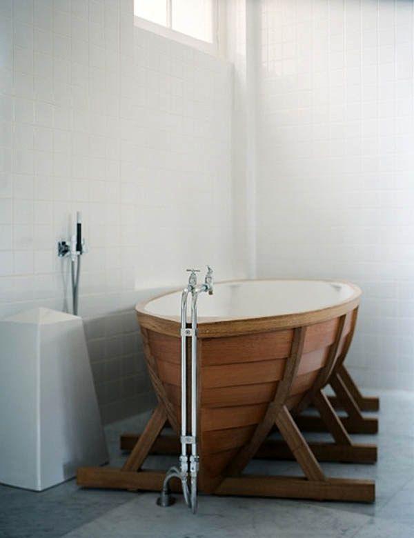 деревянная ванна - лодка