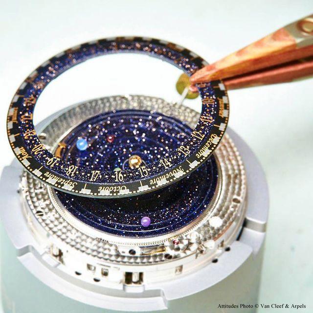 процесс создания часов с солнечной системой