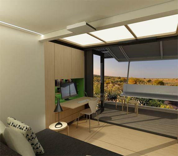 лаунж зона и вид на террасу дома из контейнера