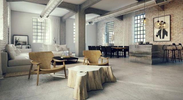 лофт с деревянной мебелью