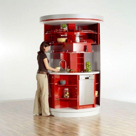 компактная круглая кухня для маленького помещения