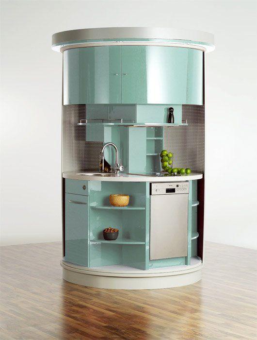 круглая компактная кухня для малогабаритных квартир