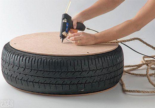 мастер-класс как сделать журнальный столик из шины