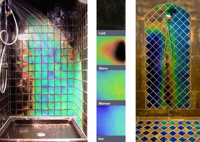 термоплитка, изменяющая цвет от температуры