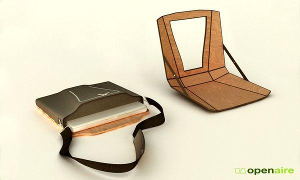 переносное рабочее место для ноутбука со стулом и подставкой