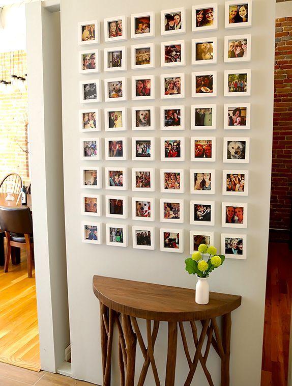 фотографии инстаграмм на стене в рамочках