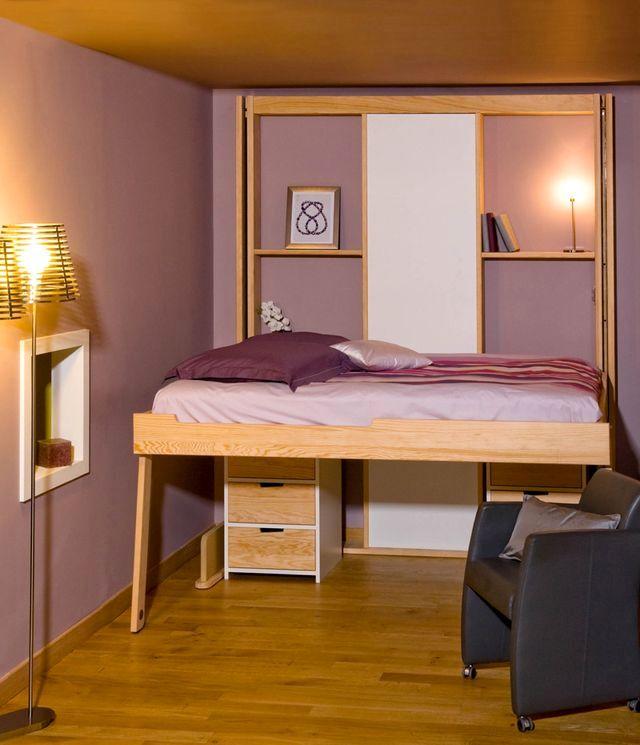 кровать чердак в опущенном состоянии