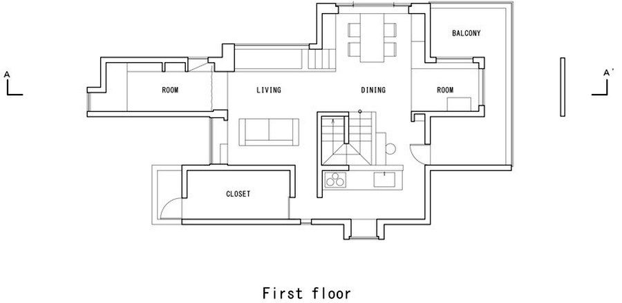 план первого этажа дома scape house