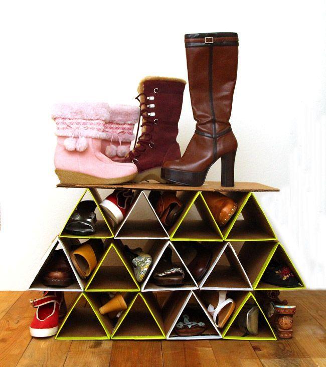 геометрические полки для обуви из картона своими руками