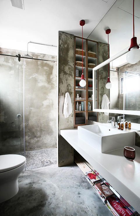 ванная комната в индустриальном стиле с бетонными стенами