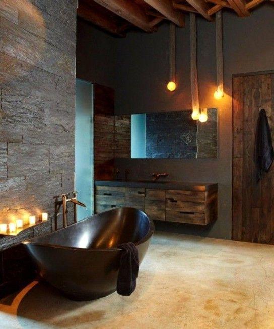 интерьер ванной в индустриальном стиле с каменными поверхностями