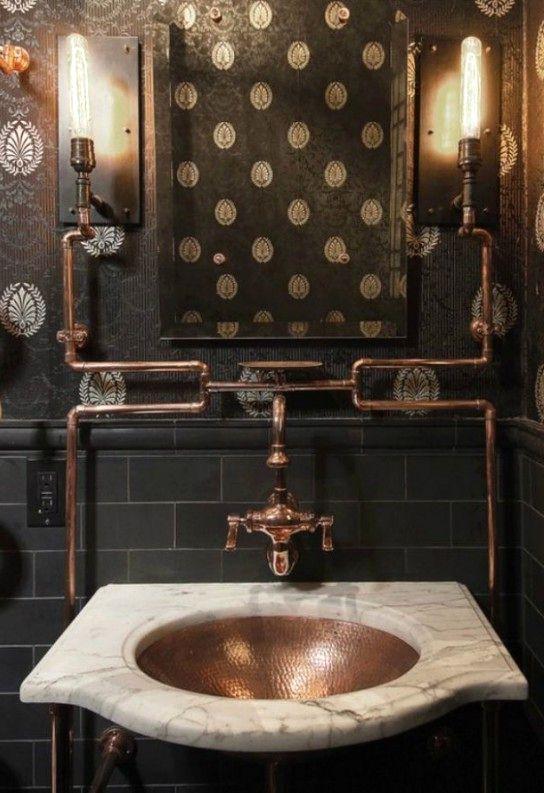 винтажная ванная в индустриальном стиле