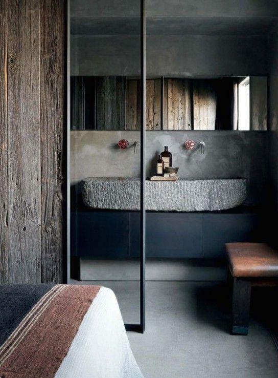 бетонная раковина в ванной комнате индустриального дизайна