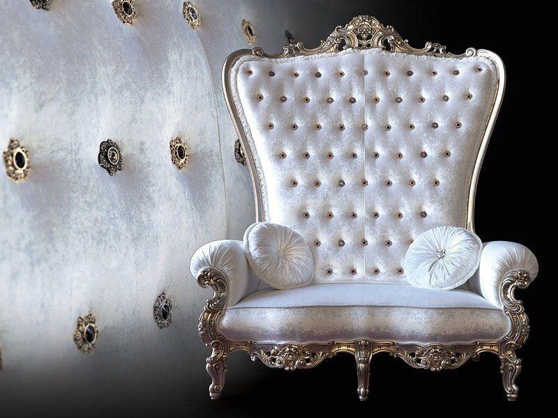 белое широкое кресло трон от caspani