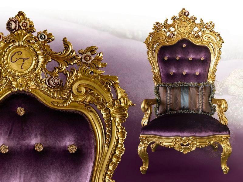 лиловое кресло трон