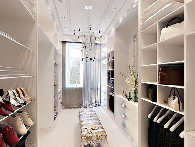 гардеробная комната с проходом посередине