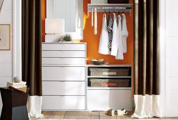 дизайн маленькой гардеробной со шторами