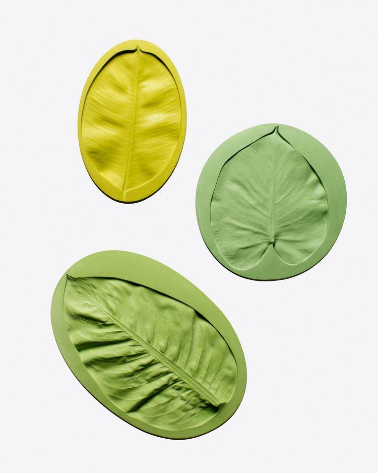 оригинальные тарелки с отпечатками листьев