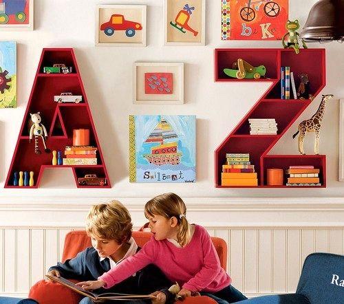детские книжные полки в виде букв