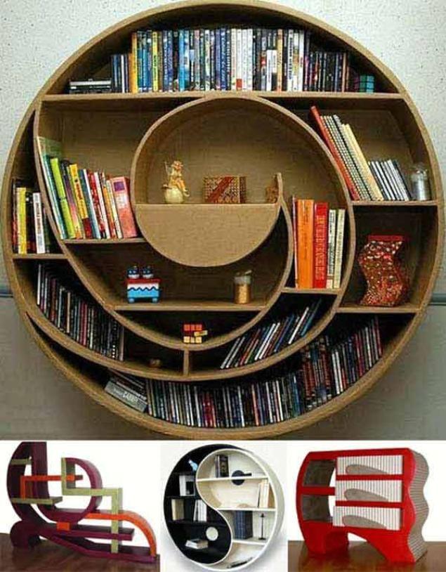 дизайн книжных полок закругленной формы