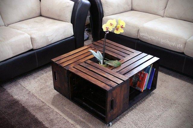 журнальный столик из деревянных ящиков