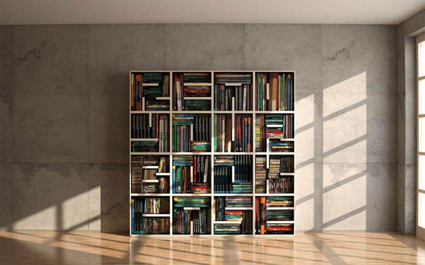 дизайн полок для книг в виде букв