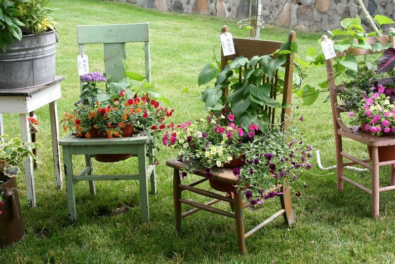 клумбы для сада из старых стульев
