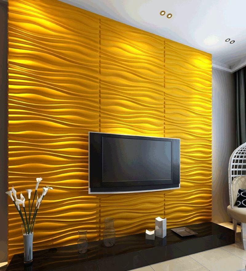 объемные 3D панели на стену в гостиной