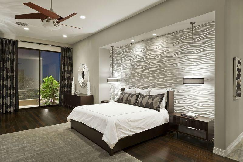 рельефные декоративные панели на стену в спальне