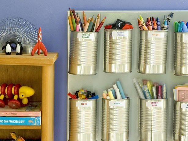 поделки из жестяных банок - органайзер для карандашей