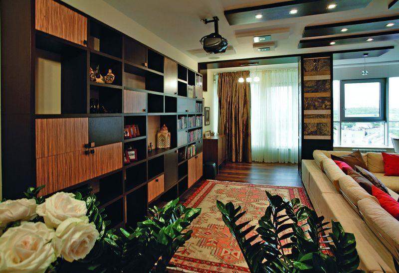 восточный ковер в интерьере квартиры модерн