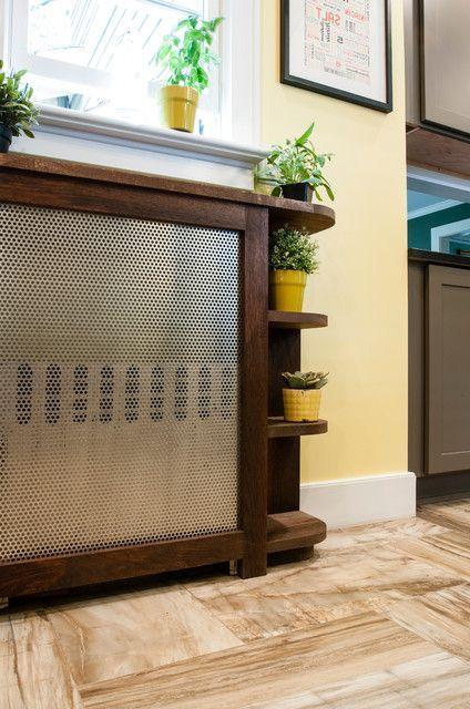 комбинированные экраны для батарей отопления - деревянный короб с металлической сеткой