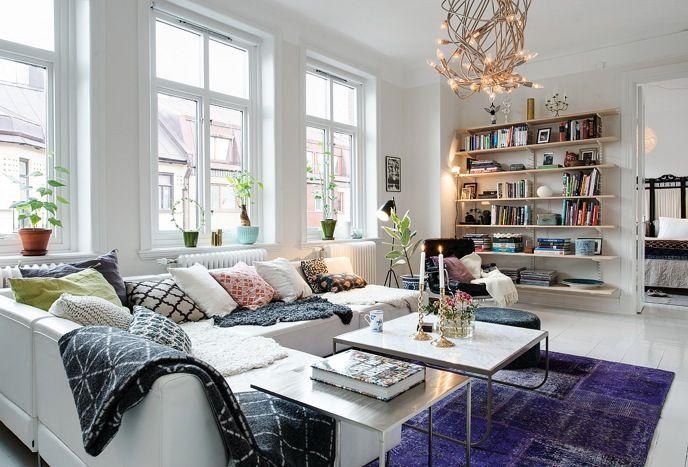 интерьер в скандинавском стиле с восточным ковром
