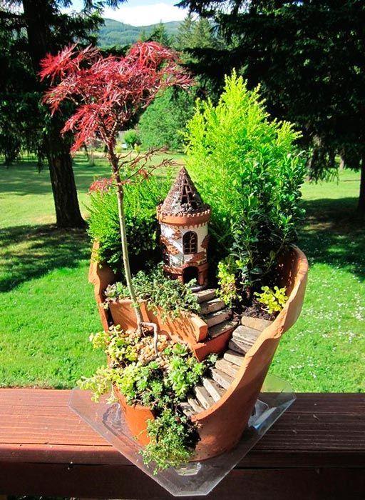 маленький сад в разбитом керамическом горшке