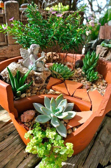 сад - что делать с разбитым горшком