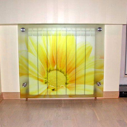 стеклянные экраны для батарей отопления с изображением
